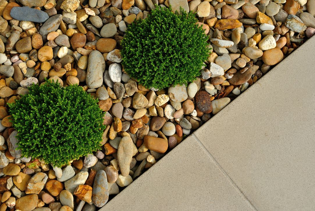 Driveway with stones and plants landscaping job - Ballarat