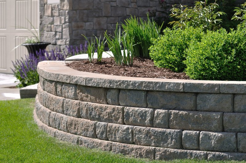 Natural stone retaining wall with garden bed - Ballarat Victoria